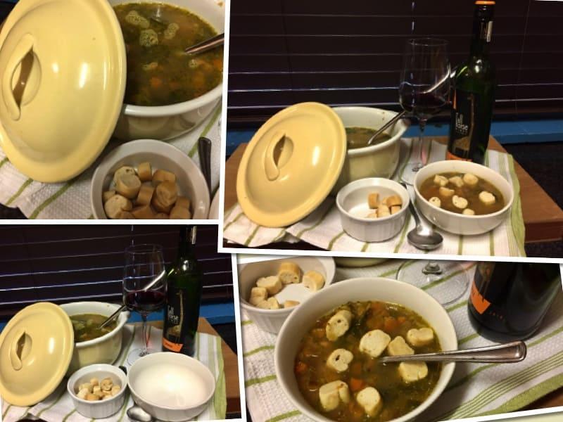 soup, wine, food